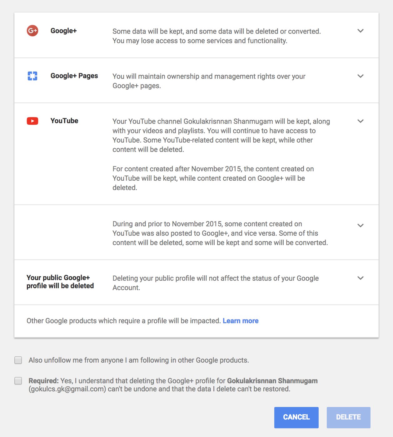Delete Google +