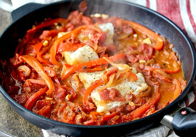 Braised Cod Peperonata for Two in a pan
