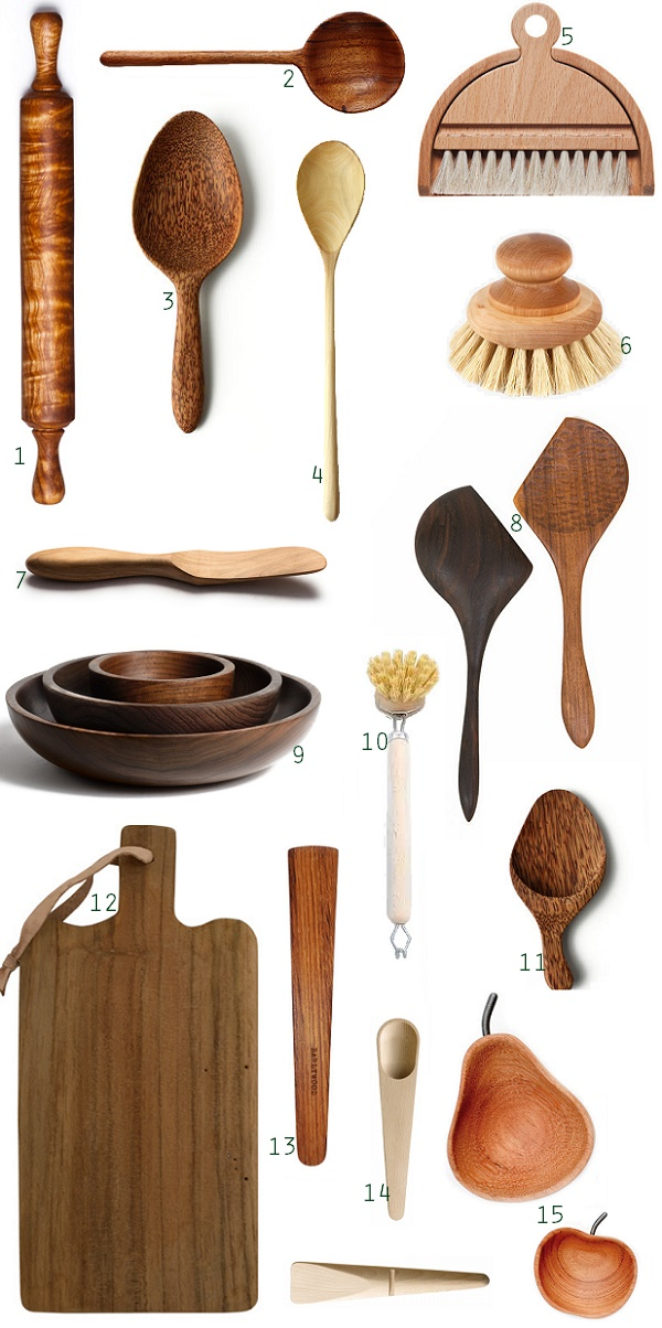 1 Rolling Pin 2 Jobillo Wood Serving Spoon 3 Baker S 4 Coffee Cooking 5 Table Brush Set 6