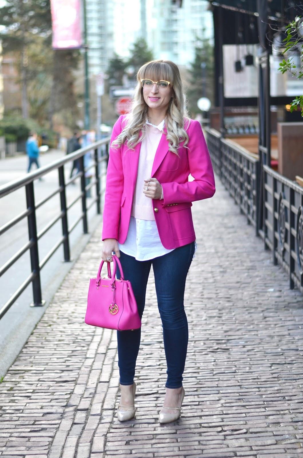 pink blazer outfit idea