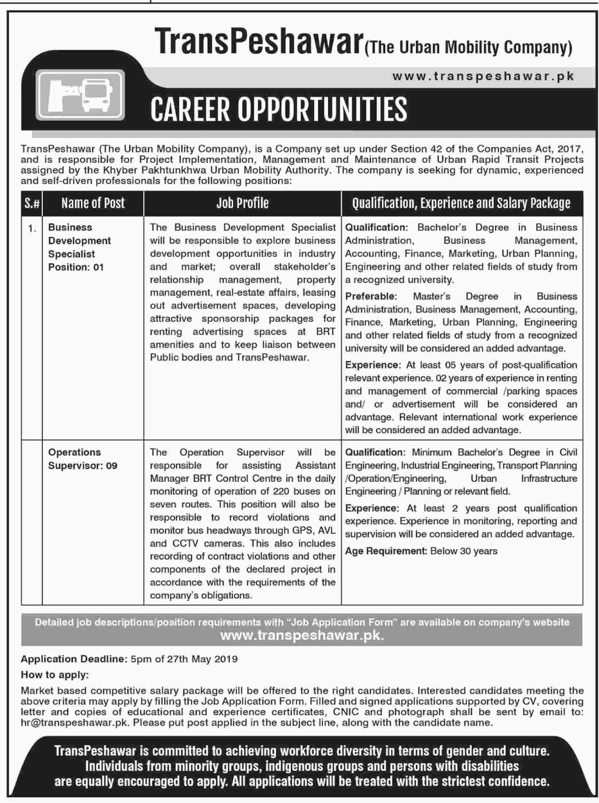 Transpeshawar The Urban Mobility Company Jobs May 2019