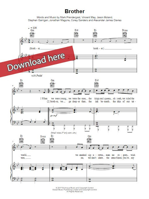 kodaline, brother, piano sheet music notes, chords, download, klaiver noten, keyboard, guitar, video
