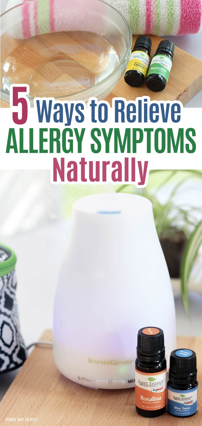 Relieve your allergy symptoms naturally with these easy tips! Get natural allergy relief for sinus congestion, itchy eyes, and all your seasonal allergy symptoms. These hacks really work! #naturalremedies #essentialoils #healthyliving #spring