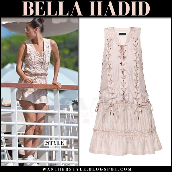 Bella Hadid in pink mini dress diesel black gold what she wore france may 2017