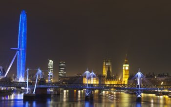 Wallpaper: Big Ben and London Eye at night