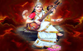 Saraswathi Mata Full Size Wallpaper In Red Background