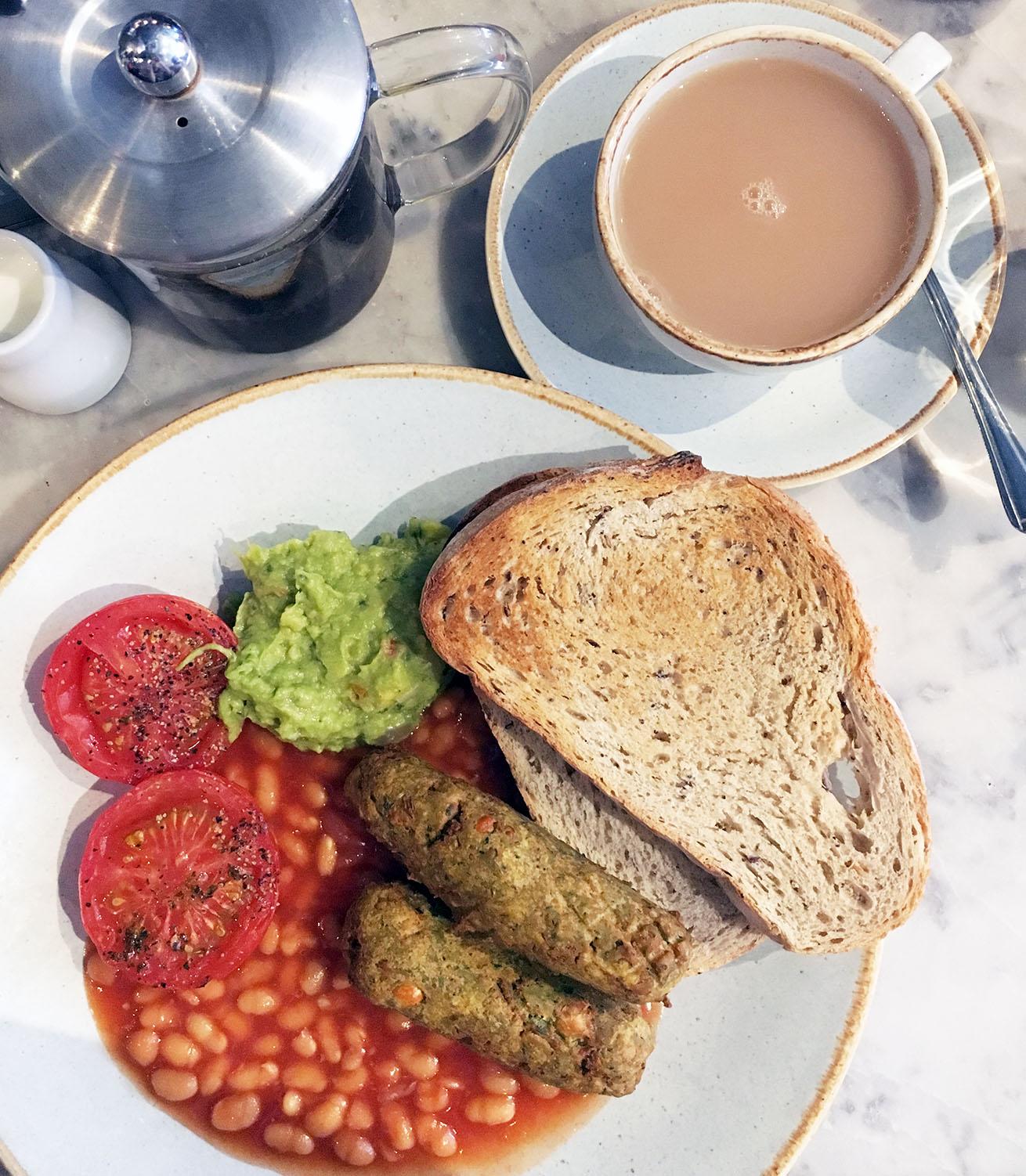 vegan full english breakfast at Leaf on Bold Street Liverpool