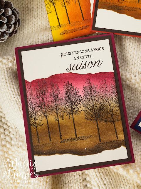 cartes de Noël féériques avec Bois hivernaux Stampin' Up!