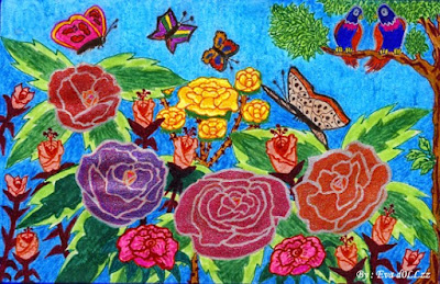 Blue flowers draw, Colorful Draws - Gambar Penuh Warna