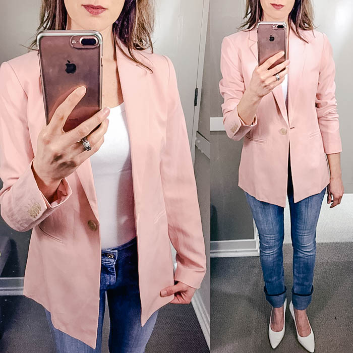LOFT try on session, pink blazer, skinny jeans, white pumps