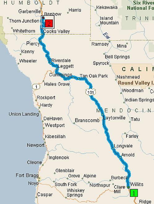 Map Willits California Elevation