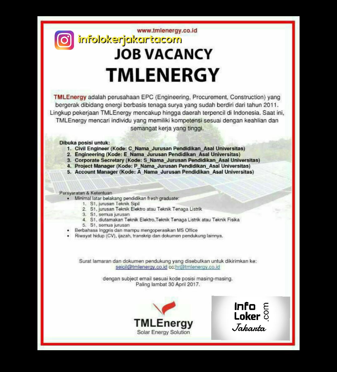 Lowongan Kerja TML Energy April 2017