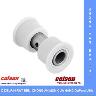Bánh xe cao su 100x32mm càng inox 304 cố định Colson | 2-4408-444 sử dụng ổ nhựa Delrin