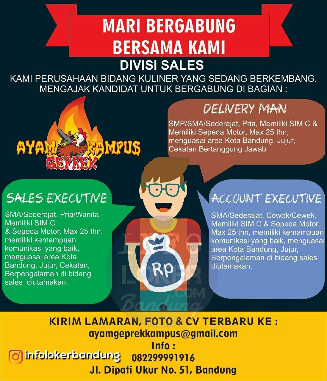 Lowongan Kerja Ayam Geprek Kampus ( Divisi Sales ) Bandung Januari 2018