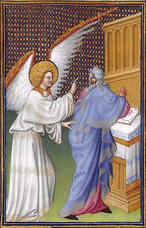 O arcanjo São Gabriel apareceu a São Zacarias e lhe anunciou que sua mulher Sara tinha concebido Très Riches Heures du duc de Berry, Musée Condé, Chantilly, século XV