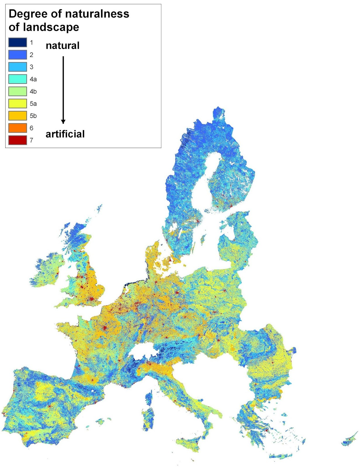 Degree of hemeroby (naturalness) of the overall landscape in EU countries (1996 - 2005)