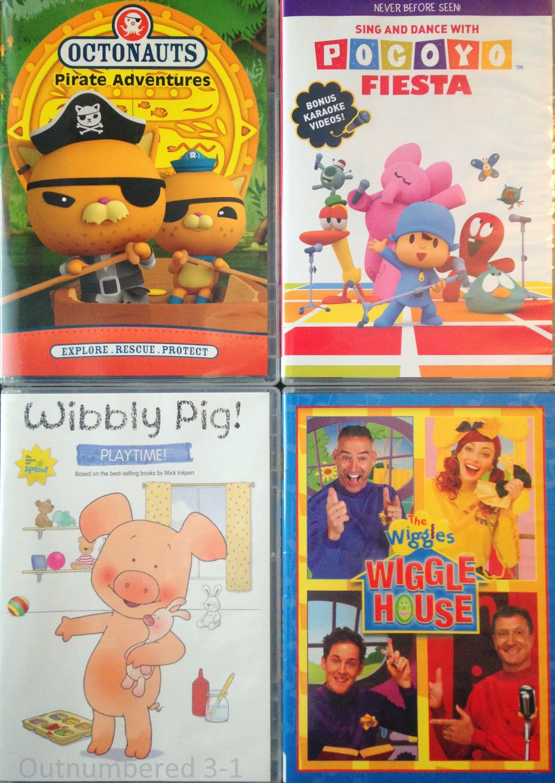 Octonauts: Pirate Adventures, Pocoyo: Fiesta, Wibbly Pig: Playtime!, The Wiggles: Wiggles House Who's in The Wiggles' House?, Giveaway