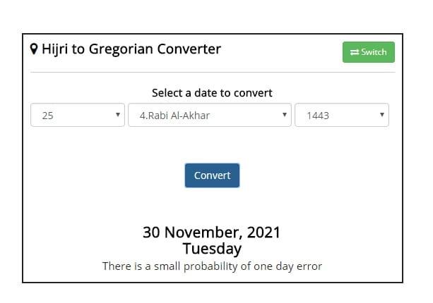 Islamic Calendar Hijri Date Converter