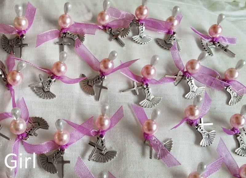 Martyrika witness pins for girl's greek christening
