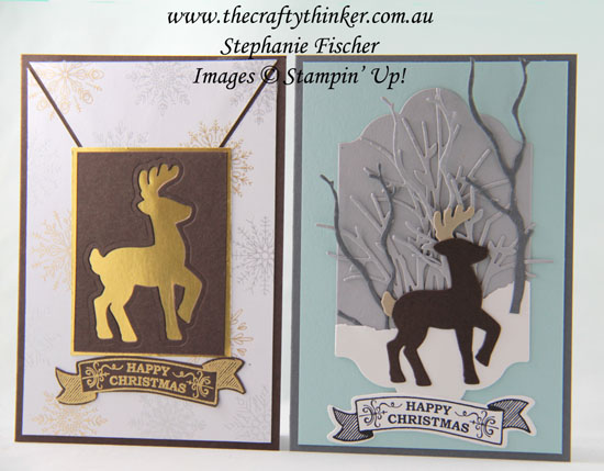 #thecraftythinker, #stampinup, #christmascard, #cardmaking, Christmas Card, Santa's Sleigh, Reindeer, using negative spaces, Stampin' Up Australia Demonstrator, Stephanie Fischer