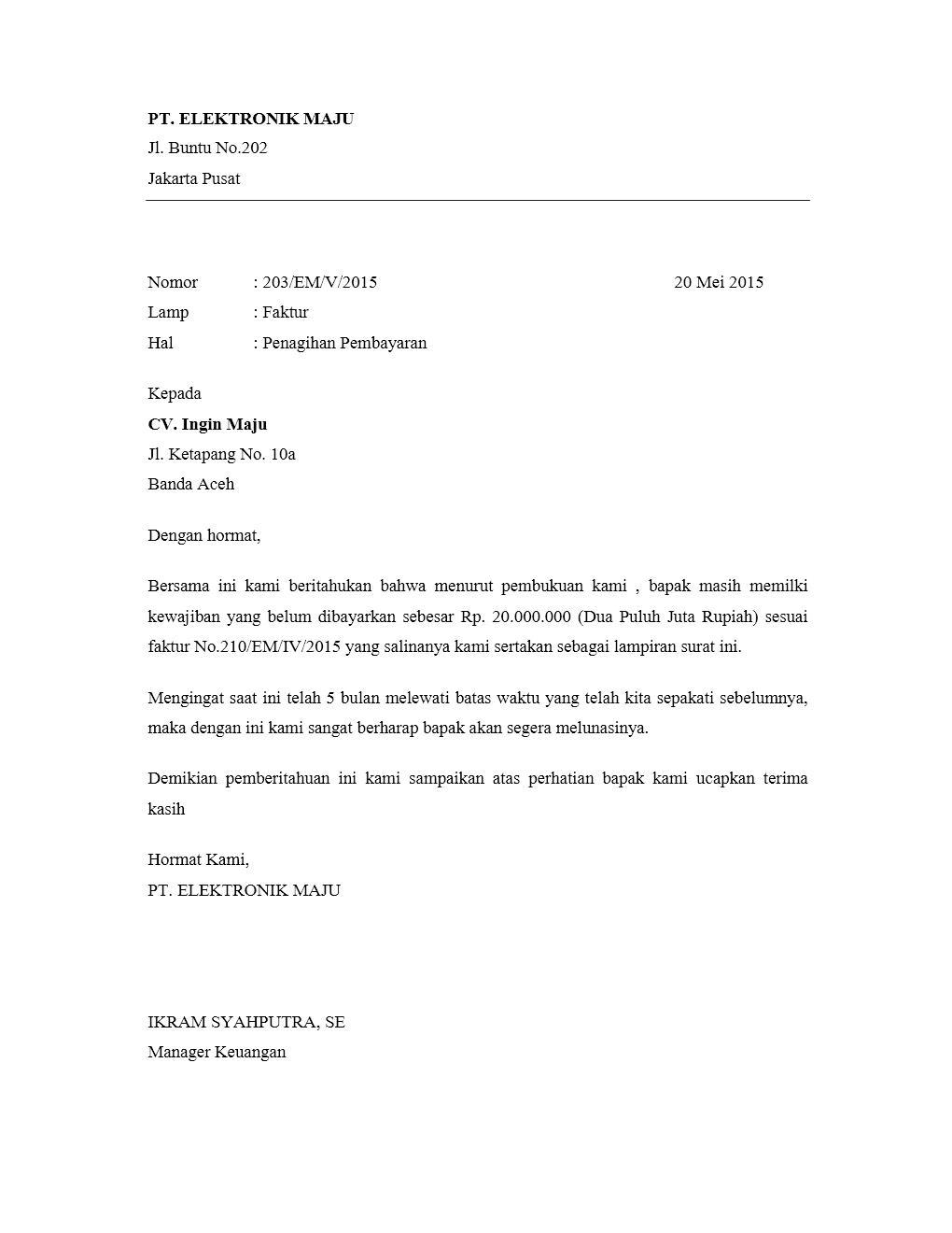 Contoh Surat Penagihan Pembayaran Barang - Assalam Print
