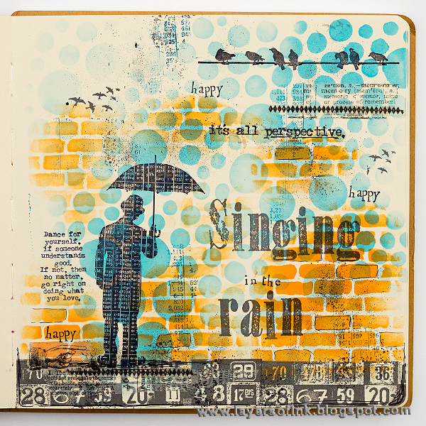 Layers of ink - Singing in the Rain art journal page by Anna-Karin