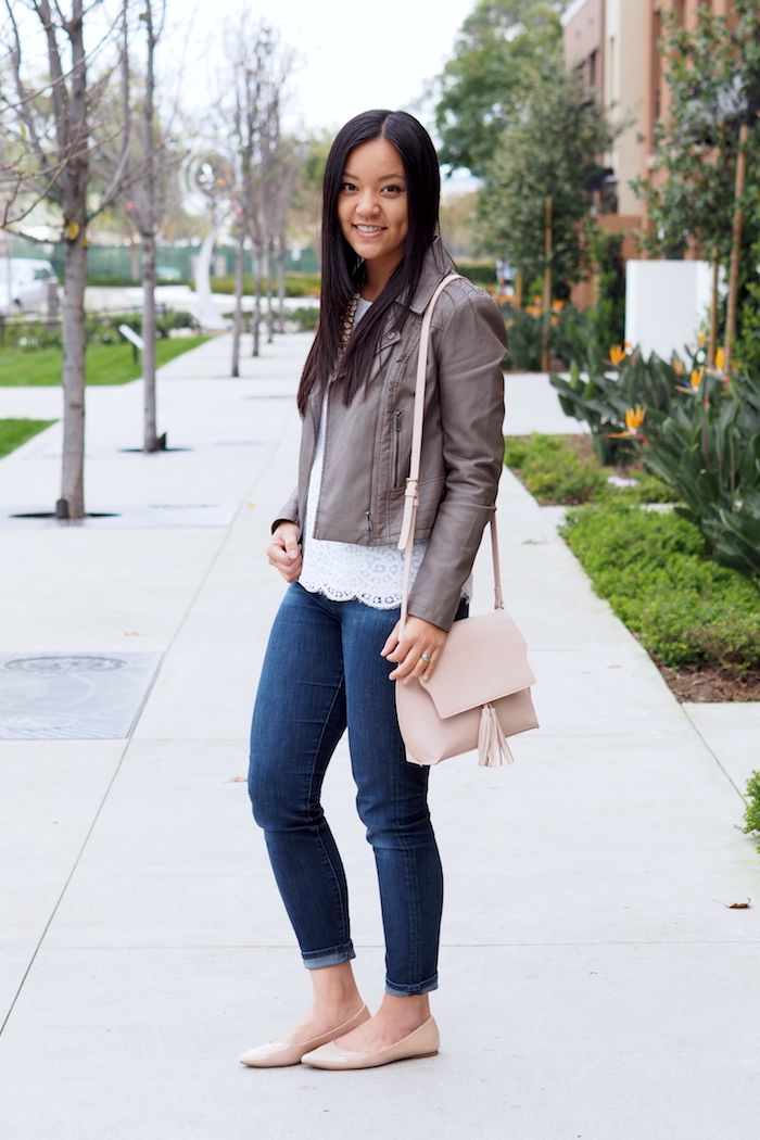 white lace top + grey leather jacket + blush + nude flats