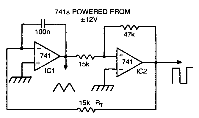 triangle and square wave circuit of lf353 basiccircuit circuit