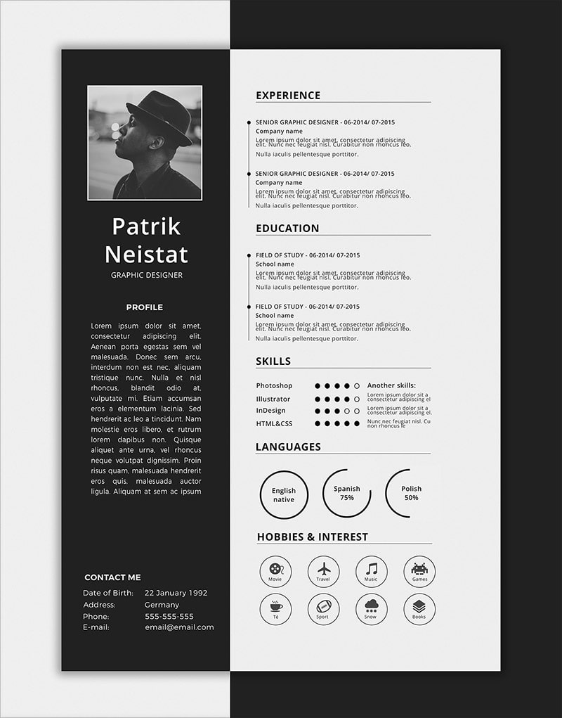 Template Resume CV 2018 - SIMPLE RESUME TEMPLATE FREE PSD