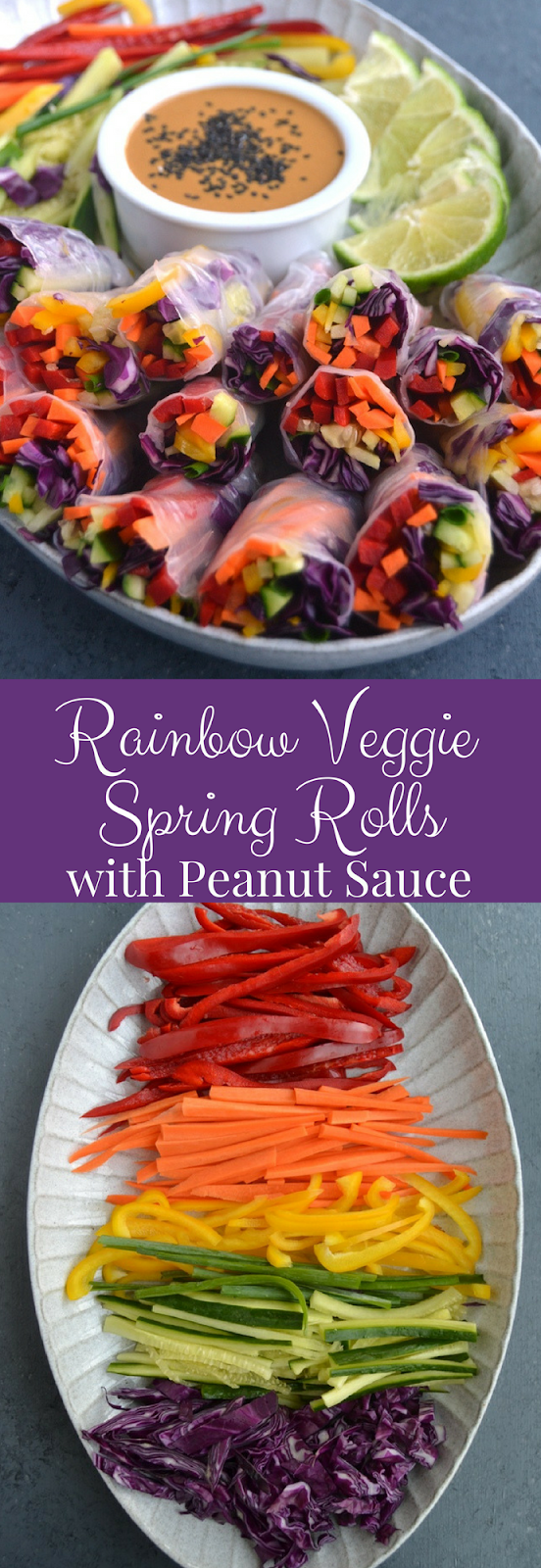 Rainbow Veggie Spring Rolls with Peanut Dipping Sauce are loaded with red pepper, carrots, yellow peppers, cucumber, green onion and red cabbage and dipped in an easy peanut sauce for the perfect appetizer. www.nutritionistreviews.com
