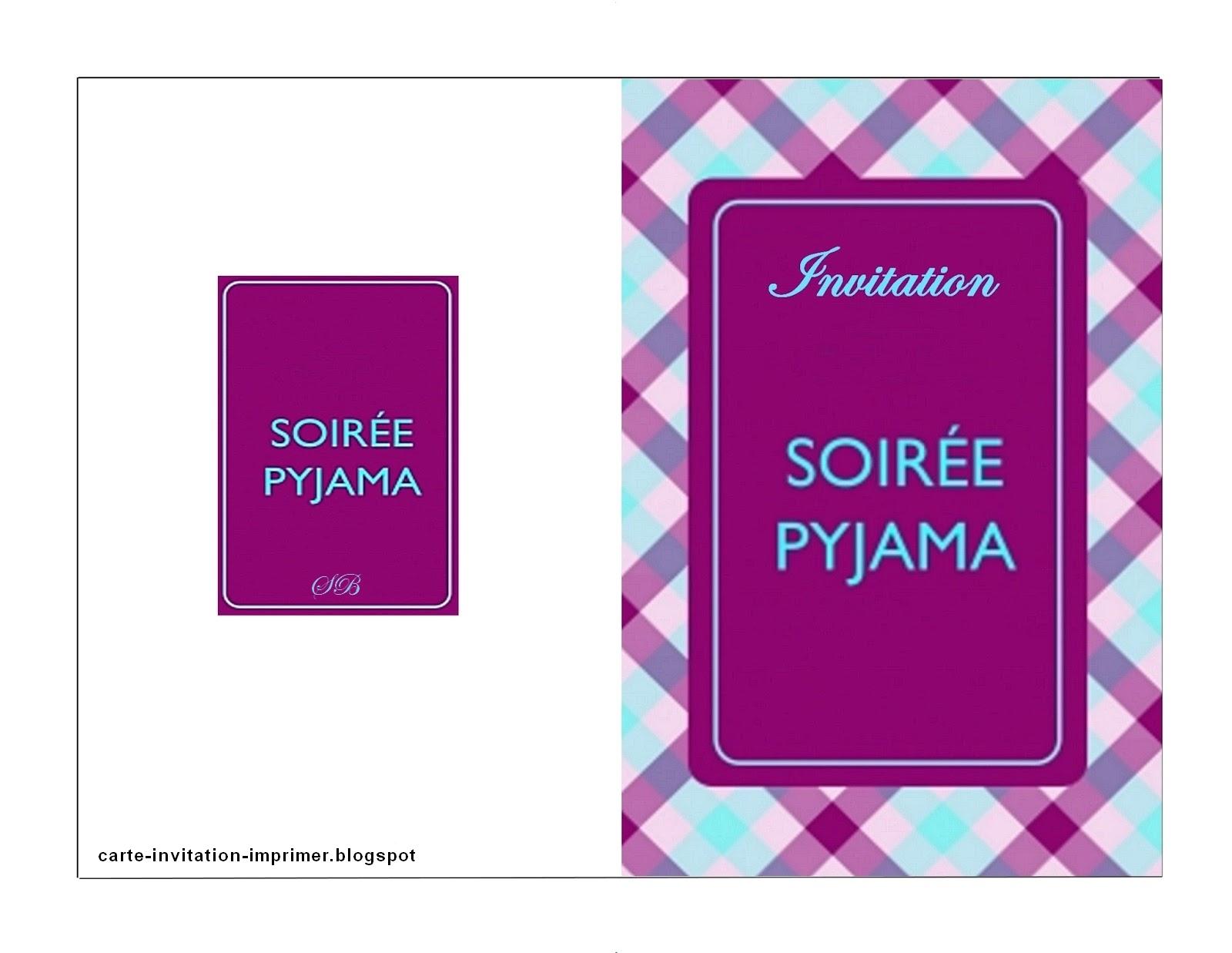 Carte Invitation Imprimer Gratuit Carte D Invitation Pyjama Party