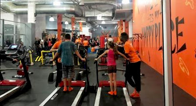 Inside the Kids Gym - on the treadmills