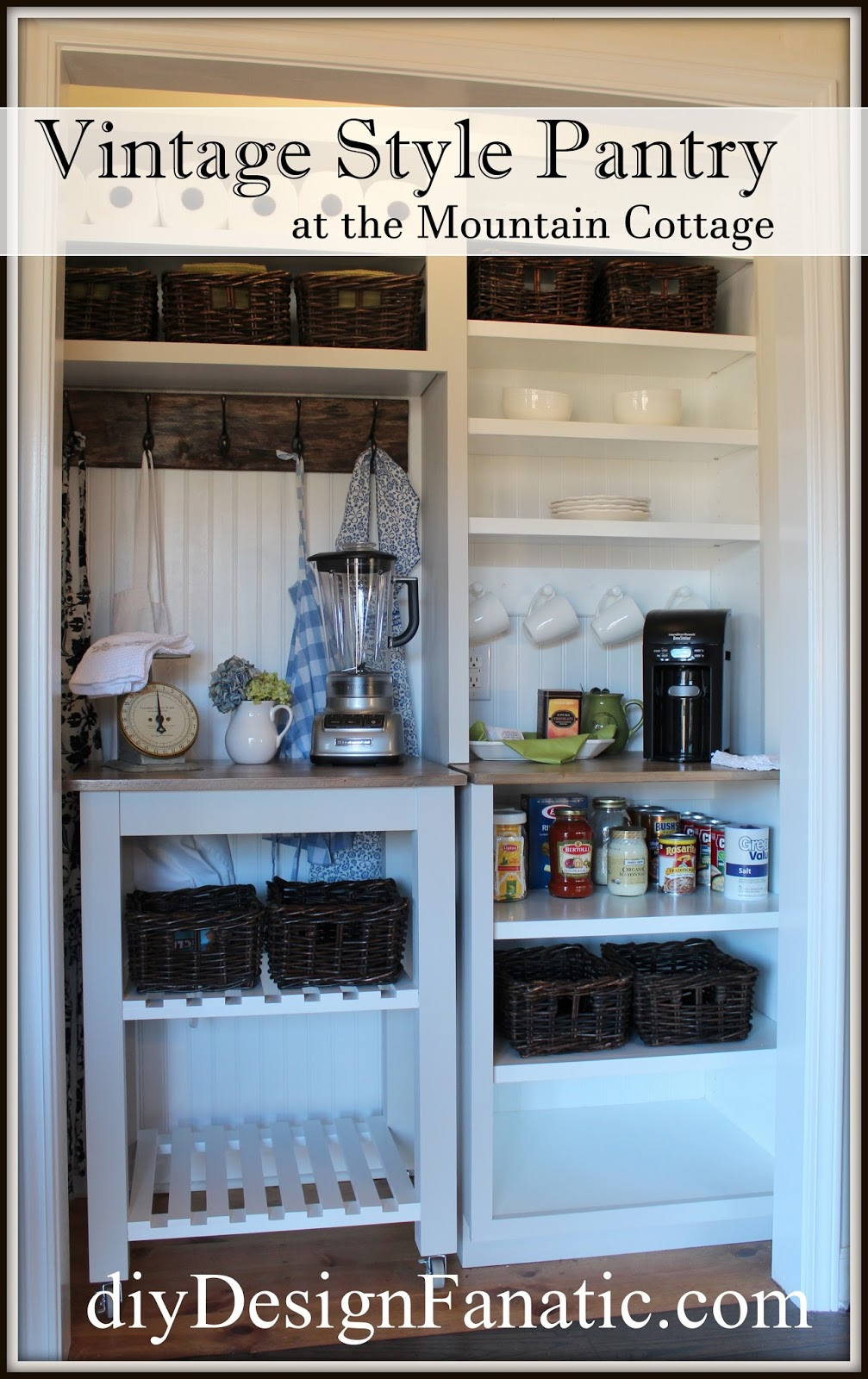 organized pantry, beautiful pantry, coffee station, kitchen cart