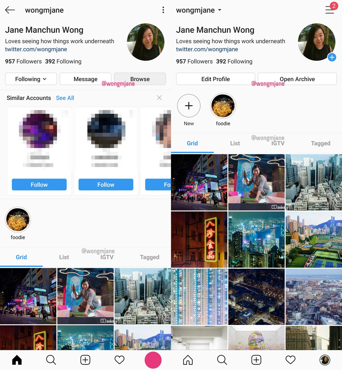 Instagram is testing a few shortcut buttons in the new profile UI: