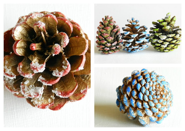 Painted and Frosted Pine Cones