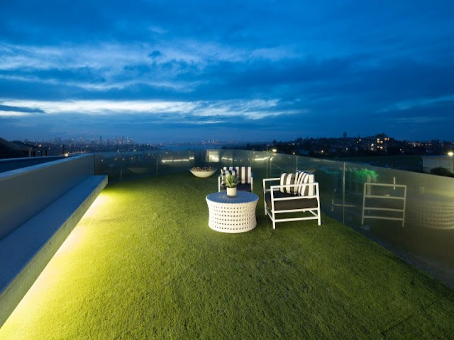 Grass on the rooftop terrace