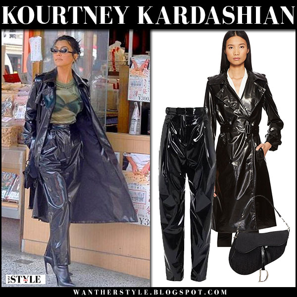 Kourtney Kardashian in black vinyl coat the kooples and black patent PVC pants tibi street fashion march 1