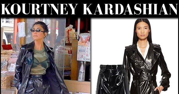 Kourtney Kardashian In Black Vinyl Coat And Black Patent