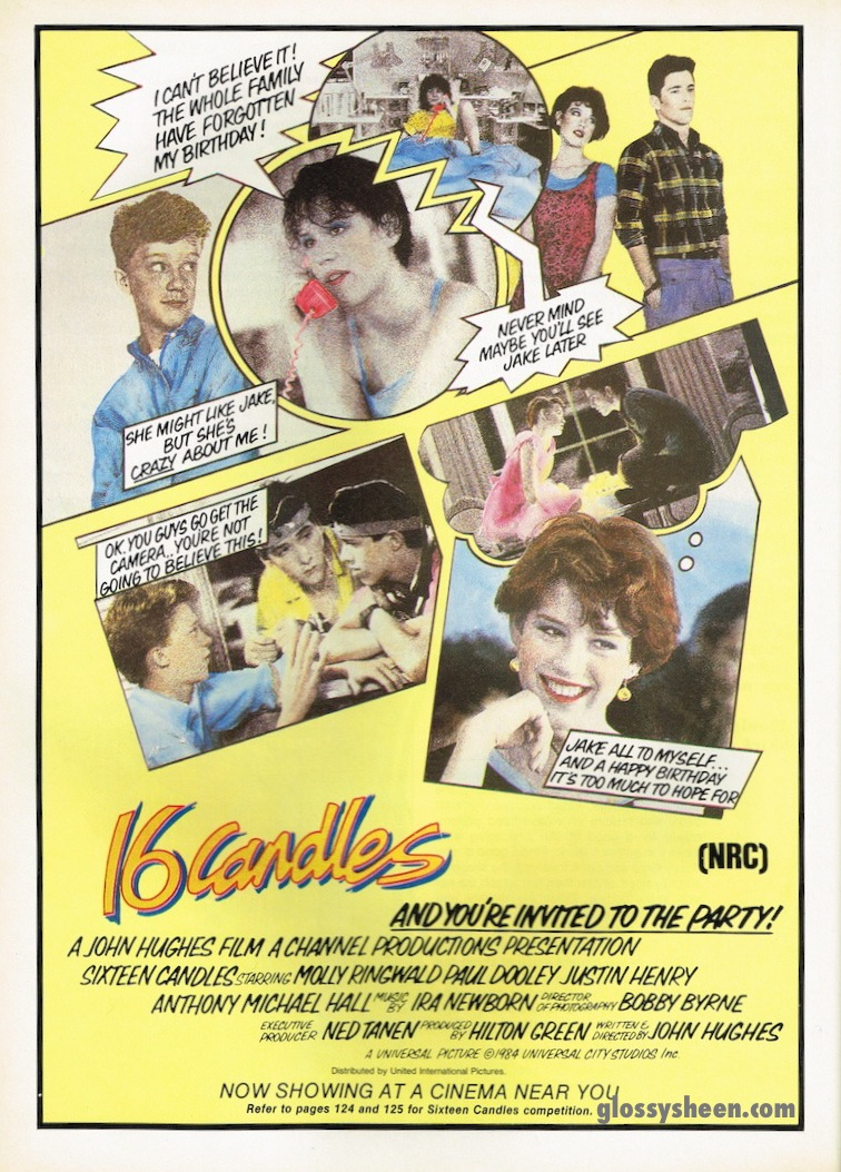 8fc9f315dbf7 For your enjoyment this cool pop art style advertisement for the famous  John Hughes film 16 Candles starring the 80 s darling herself Molly  Ringwald!