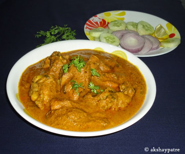 chicken ghashi in a serving plate
