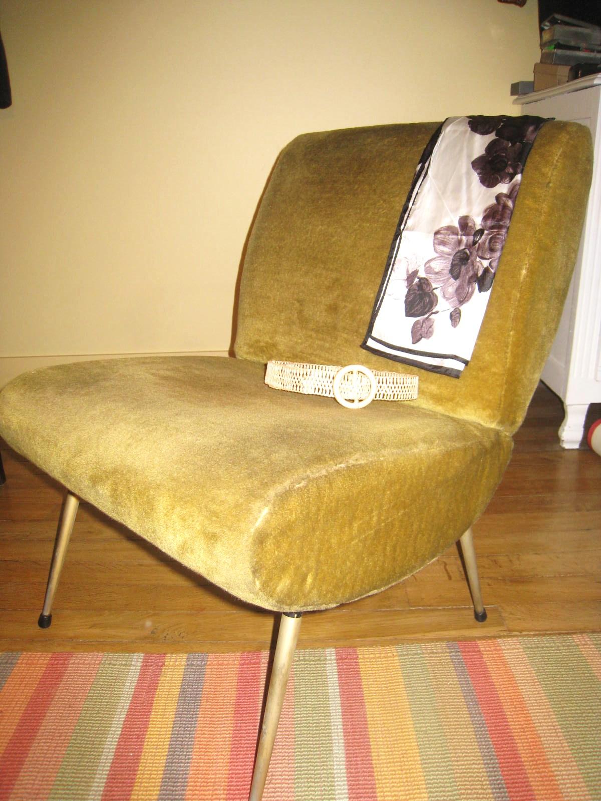 les dedees vintage recup creations petit fauteuil vintage annees 50 60. Black Bedroom Furniture Sets. Home Design Ideas