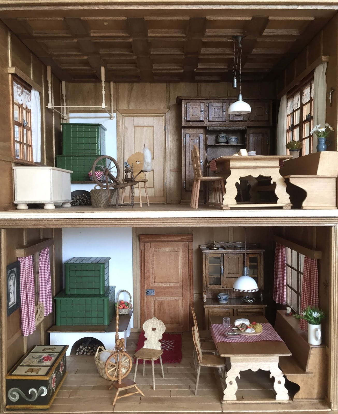 112 Scale Modern Model Houses Old Farmhouse Roombox X2 Wiring But Most Likely It Fits Her More Traditional View Of An Room Better Checkered Curtains