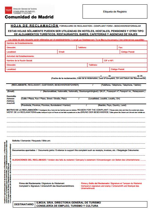 Hojas de reclamaci n for Oficinas de registro de la comunidad de madrid