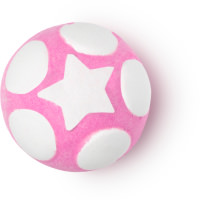 A bright bubblegum pink spherical bath bomb with white hexagons printed all over on a white background