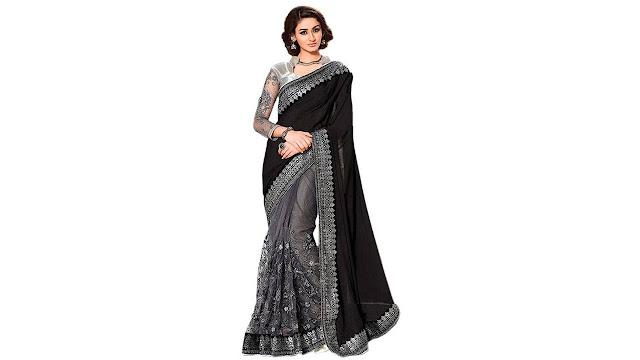 Vastrangam Embroidered Fashion Lycra, Net Saree  (Black, Grey)