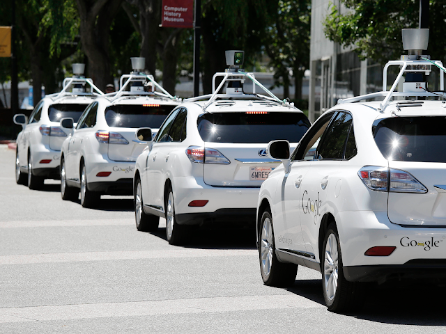 A fleet of Google Driverless Vehicles