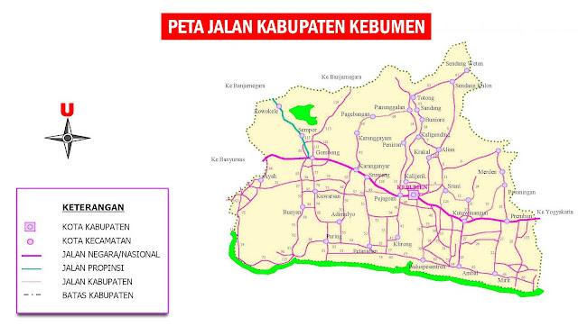 Gambar Peta Jalan Kabupaten Kebumen