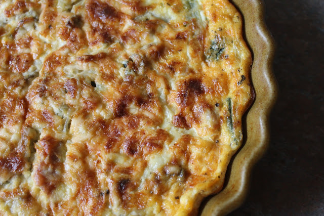 Quiche made with courgettes with lemon and thyme