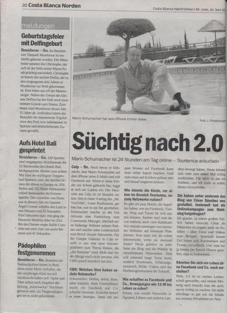 Interview (Entrevista) Costa Blanca Nachrichten – 10 Juni 2011, Mario Schumacher Blog