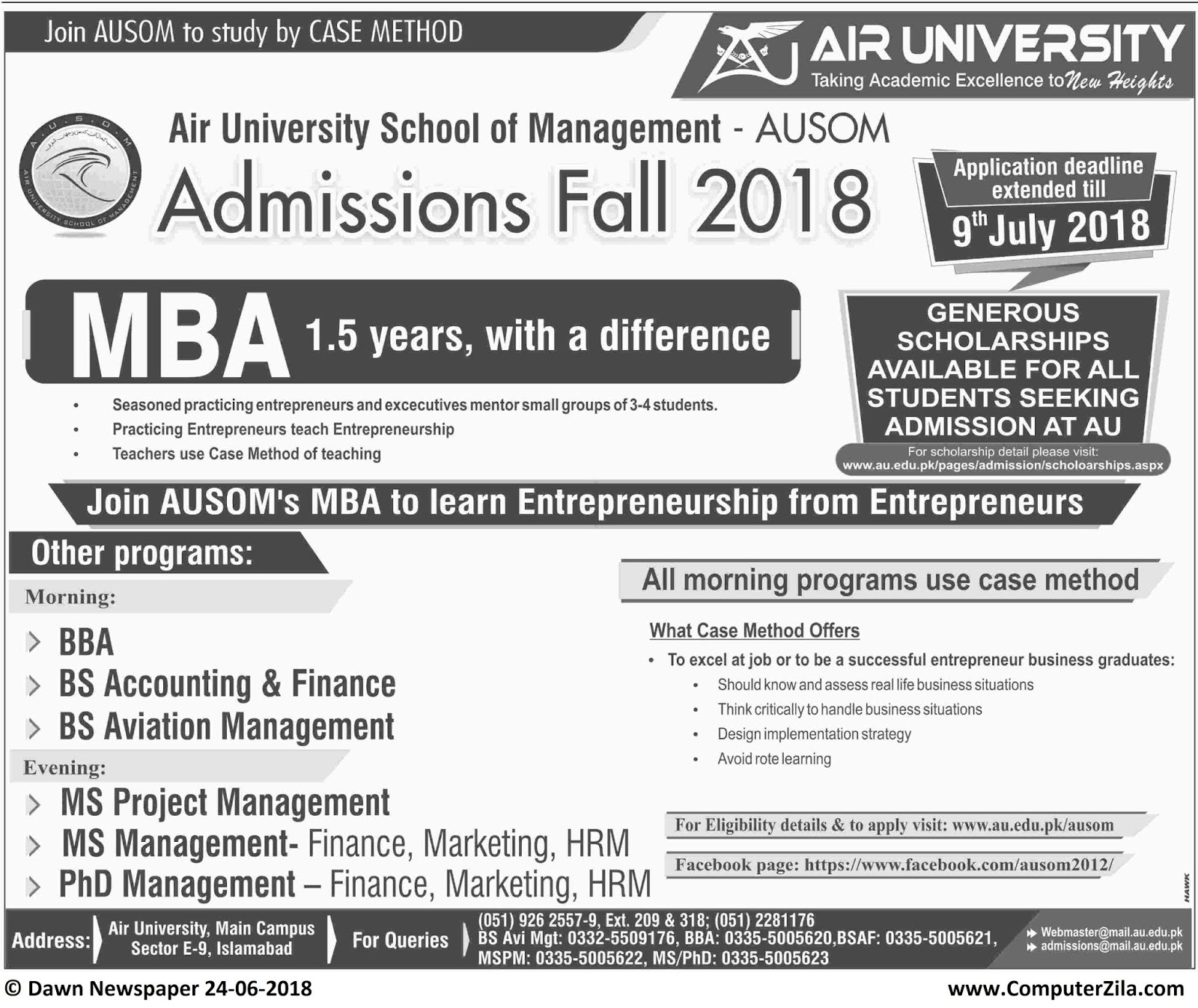Air University Admissions Fall 2018 mba extended date